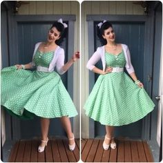 Collectif Clothing Dress, Rita Sue Cardigan, Pinup Girl Clothing Belt, Miss L Fire Shoes