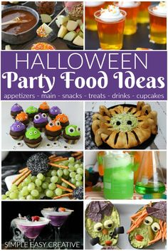 Grab one of these recipes for Halloween Party Food including appetizers, main dishes, snacks, treats, drinks and cupcakes! Halloween Finger Foods, Halloween Themed Food, Halloween Party Treats, Halloween Appetizers, Halloween Drinks, Diy Halloween, Vintage Halloween, Halloween 2020, Halloween Decorations