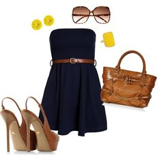 Navy and yellow with brown