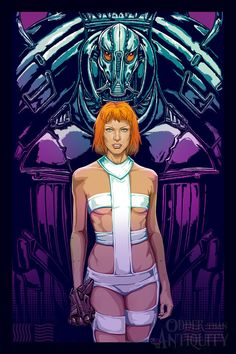 Fifth Element Leeloo and Mondoshawan Original Illustration by Jacob Sparks Painted Poster Print- Three Sizes Available