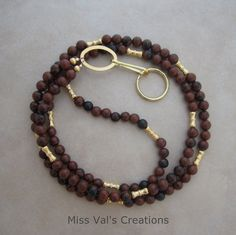 Mahogany obsidian ID badge lanyard also available with silver accents.