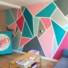 34 Wall painting Ideas for Living Room – Living Room Cozy . 34 Wall painting I Bedroom Paint Design, Bedroom Wall Designs, Accent Wall Bedroom, Room Ideas Bedroom, Bedroom Kids, Accent Walls, Trendy Bedroom, Diy Bedroom, Girl Bedroom Walls