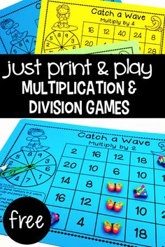 These games will give your students the practice they need to master the basic multiplication and division facts. This pack has 20 Multiplication & Division games – no prep and easy to play! Division Games, Multiplication And Division, Multiplication Activities, Free Maths Games, 3rd Grade Division, Teaching Division, Division Strategies, Division Activities, Addition Strategies