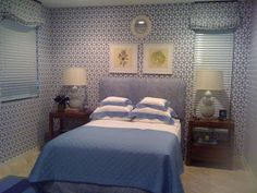 blue and white wallpaper guest bedroom