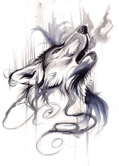 Howling Wolf black&white aquarelle tattoo