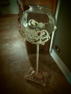 Antique Victorian Iron Fishbowl Stand And And Fishbowl