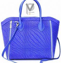 VERA PELLE Shopper 29cm Clutch Schultertasche Echtleder Luxus Blau Flechtoptik