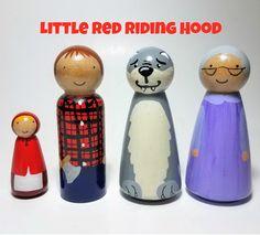 Little Red Riding Hood Peg Doll Set figuras de cuentos único