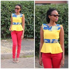 ways to wear a peplum top nanciemwai ~African Prints, African women dresses, Kitenge, Ankara, Kente, African fashion styles, African clothing, Nigerian style, Ghanaian fashion ~DK