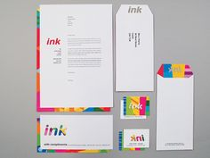 Ink by Naomi Farrar, via Behance  A full identity, packaging and product development brief. Ink is a stationery shop, at the heart of which is the concept of colour application. Using laser cutting techniques, an identity was created which applies colour without directly using it within a logo or identity.
