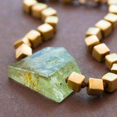 Angles - Green Aquamarine Gemstone Bracelet Hand Knotted Gold Bracelet