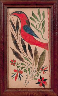 """Pennsylvania watercolor and ink on paper fraktur bookplate, 19th c., of a bold stylized red bird on a floral branch, 6 1/4"""" x 3 1/4"""""""