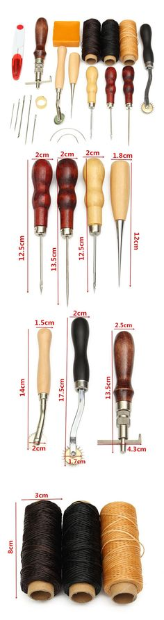 Clearance14pcs Wood Handle Leather Craft Tool Kit Leather Hand Sewing Tool Punch Cutter DIY Set