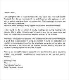 Recommendation Letter Sample For Teacher Aide - http://www ...