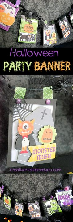 http://creativemeinspiredyou.com/have-an-epic-party-and-create-your-own-banner/ How cool, create a banner for your Halloween party or decor!