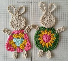 - Crochet Bunny Applique Free Patterns: Easy and Quick Easter Bunny / Rabbit Applique and Motifs crochet pattern most free for Easter crochet decoration Crochet Easter, Easter Crochet Patterns, Crochet Bunny, Crochet Motif, Crochet Crafts, Crochet Toys, Crochet Projects, Free Crochet, Knit Crochet