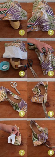 Tutorial cover shoes with fabric randomly happy diy making sewing simple an Shoe Refashion, Diy Clothes Refashion, Sewing Clothes Women, Diy Clothing, Sewing Tutorials, Sewing Patterns, Shoe Makeover, Shoe Crafts, Old Shoes
