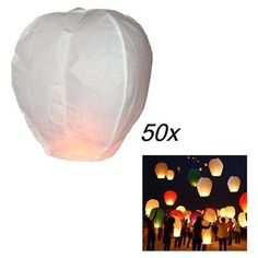 White Color 50x Sky Flying Fire Chinese Paper Lantern Wish Balloon For Christmas Festival Birthday Party Wedding