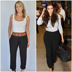 These 100% cotton harem pants feel just amazing on and come with a built in tan bow belt, elastic cuffs and front pockets. Harem pants have been seen on the runways and on celebritis alike, from J-Lo, to Kim Kardashian, to even Justin Beiber! Black harem pants are a must this Autumn.  #getherstyle #celebritystyle #kimkardashian