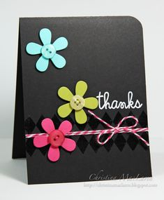 Love these colors that pop on the black background!  Use Versamark ink to get that shiny chevron pattern. Matching button flower centers and a bow of twine are all you need n this handmade thank you card.