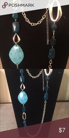 "Silver Blue And Turquoise Layering Necklace 38"" Etienne Aigner Silver Blue And Turquoise Layering Necklace 38"" Jewelry Necklaces"