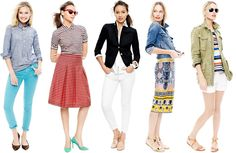 J.Crew Spring 2013  I particularly like the chambray shirt and patterned skirt!
