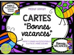 FREE French cards for the end of the year - Bonnes vacances! Year End Teacher Gifts, Teacher Cards, Student Gifts, French Teaching Resources, Teaching French, School Resources, Last Day Of School, Too Cool For School, Classe Dojo