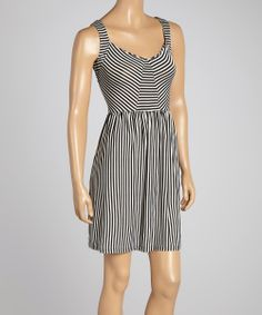 Black & White Stripe Drop-Waist Dress | Daily deals for moms, babies and kids