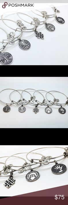 Alex and Ani 5 Peace Bundle! Top Favorites! Alex and Ani Bundle silver color bangles (Tree of life, Path of life, Endless Knot, Claddagh, and Hand in Hand) Alex & Ani Jewelry Bracelets
