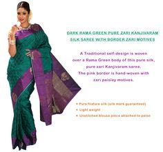 Dark Rama Green Pure Zari Kanjivaram silk saree with Border Zari Motives