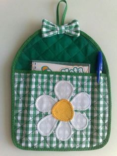 Hang on wall for grocery list and pen. Easy Sewing Projects, Sewing Hacks, Sewing Crafts, Hobbies And Crafts, Crafts To Make, Diy Crafts, Little Presents, Mug Rugs, Craft Gifts