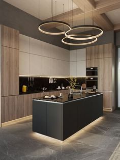 Luxury apartment in residential complex Baisanat - Dezign Ark (Beta) - Modern Kitchen Modern Kitchen Interiors, Luxury Kitchen Design, Kitchen Room Design, Modern Kitchen Cabinets, Home Room Design, Kitchen Cabinet Design, Luxury Kitchens, Home Decor Kitchen, Interior Design Kitchen