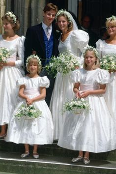 James Ogilvy and Julia Rawlinson, July 30, 1988.Their Bridesmaids Charlotte Rawlinson, Lady Gabriella Windsor, Alexandra Wilson And Eleanor Rawlinson.