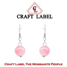 "14K Gold Pink Bead Dangle Hook Earrings ""Mother\'s Day Gift"". Starting at $1"