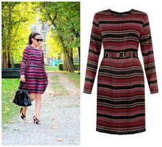 La Blogger Nicky indossa abito Darling London (www.mywishstyle.com) #mywishstyle #nicky #stripes #autumnmood