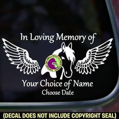 MEMORIAL Horse with Wings ADD CUSTOM WORDS Vinyl Decal Sticker