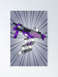 You're a DPS Main, master of the team wipe. You secure the kills to win the match. Show off with this vibrant submachine gun design. Easily frameable with a white border, and a vibrant semi-gloss finish. Comes in 3 sizes: Small 39.3 x 55cm, Medium 56 x 84cm, or Large 78.6 x 119 cm. Great for a gaming den or boy's bedroom. Submachine Gun, Game Art, Maine, Guns, Vibrant, Bedroom, Medium, Artwork, Poster