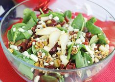 To-die-for Pear Gorgonzola Salad with suggestions to help trim off some unnecessary calories and fat! #www.TheHappyGal.com #salad #lunch
