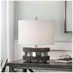 Uttermost Rivard Charcoal Concrete-Slab Oval Table Lamp