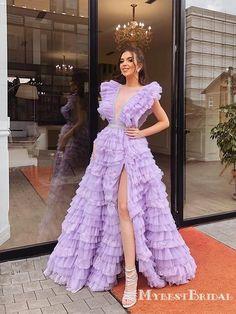 designer dresses Pretty Charming Cute Deep V-neck Sleeveless Side Slit Lilac Tulle A-line Long Cheap Prom Dresses, Gala Dresses, Event Dresses, Cheap Prom Dresses, Couture Dresses, Fashion Dresses, Formal Dresses, Sleeveless Dresses, Long Prom Gowns, Formal Prom