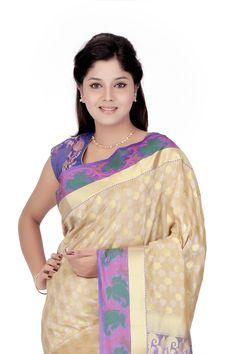 Self Design Kanjivaram Art Silk Sari Beige @  Rs.2,745.00  #Sarees #Sari #WomensFashion