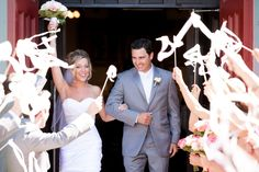 Wedding Ribbon Wands - Party streamers -set of 100 double ribbons with bells. $125.00, via Etsy.