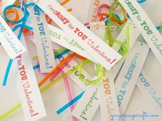 Crazy straws for valentines! Love this idea. Great for allergy kids too.