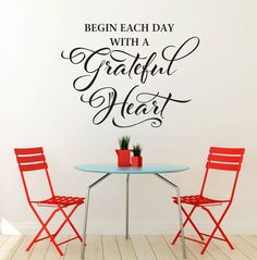 Begin Each Day with a Grateful Heart Wall Decal  by LucyLews, $12.00