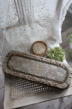 French lace and ribbonwork on chair...yum!