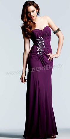 Purple Sheath Strapless Sweetheart Floor Length Evening Dress With Appliques and Pleats