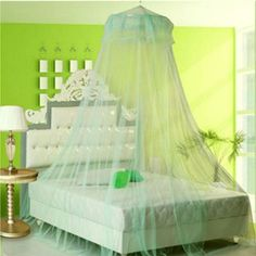 Elegant Lace Hanging Bedding Mosquito Net Dome Princess Bed Canopy Netting(Random: Color) ** Visit the image link more details. Lace Bedding, Lace Curtains, Bedding Sets, Mosquito Net Bed, Princess Canopy Bed, Bed Net, Home Interior, Interior Design, Bedding