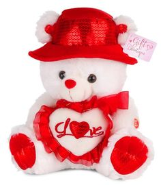 "Musical I Love You Valentine Bear with Red Hat (15"") You hear Kissing Sound th #Doesnotapply"