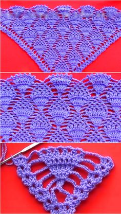 Pineapple Stitch For Triangular Shawl - Crochet IdeasPineapple Stitch For Triangular Shawl Figuring out how to create this amazing stitch is difficult, that is why we have selected very helpful and interesting video tutorial for you. This stitch is c Poncho Crochet, Crochet Shawls And Wraps, Crochet Scarves, Crochet Chart, Filet Crochet, Crochet Stitches, Shawl Patterns, Knitting Patterns, Crochet Patterns