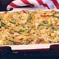 Paula Deen's Chicken And Rice Casserole. Made this last night with a rotisserie chicken, no water chestnuts, and light mayo (used half of the amount). So good!